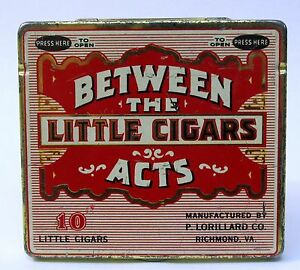 """BETWEEN THE ACTS LITTLE CIGARS """"Press Here"""" tin litho can pocket container"""