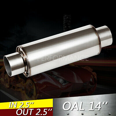 "Outlet 12/"" Long Turbine Muffler Stainless Straight Through-Fiberglass 3/"" Inlet"