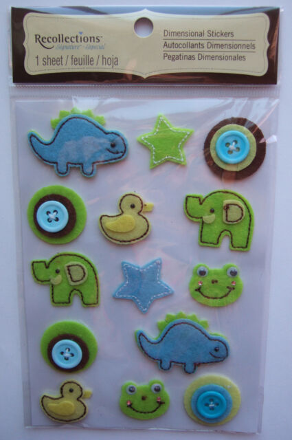 ~BABY BOY OBJECTS~ Recollections Dimensional Stickers; blue green brown yellow
