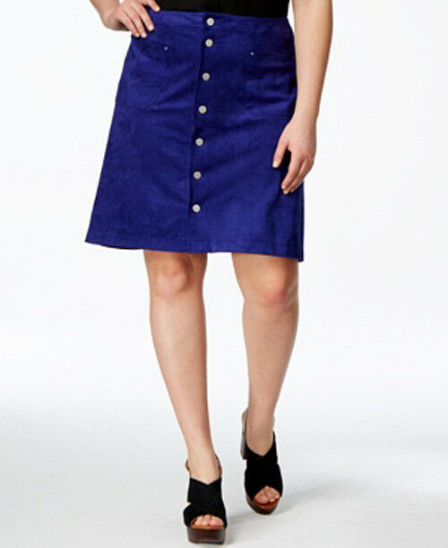INC Women's A‑Line Skirt Snap Front bluee Faux Suede Size 18W Retail