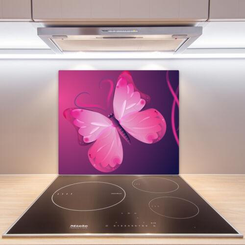 Herdabdeckplatten en verre anti-projections Rose Papillon 60x52 Cm