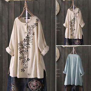 Mode-Femme-Coton-Imprime-floral-Manche-Longue-Col-Rond-Simple-Shirt-Haut-Plus
