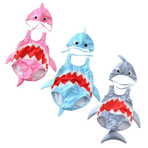 Toddler Kids Baby Girls Boys Cartoon Shark Swimsuit Bathing Suit+Hat