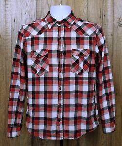 Para-Hombres-Camisa-De-Franela-Retro-Ocean-Pacific-Talla-S-Cuadros-en-Rojo-Manga-Larga-100-algodon
