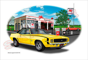 1969 Camaro SS RS 396 Garage Muscle Car Art Print - Yellow