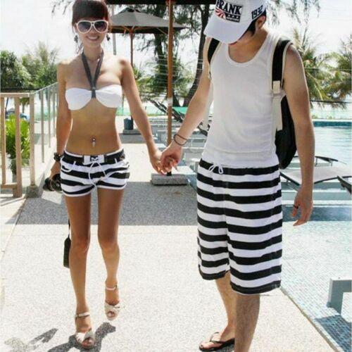 Board Shorts Pants Couple Swimwear Striped Swimsuit Swimming Women Men Beachwear