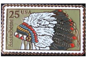 Assiniboine Indian Headdress 1990 Head Dress 25c #2501 Stamp Pin Pinback NEW