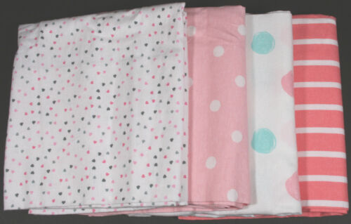 GERBER BABY GIRL'S 4-Pack Flannel Receiving Blankets - HEARTS POLKA DOTS - NWT