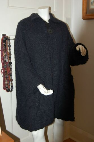 And Coat Blue Made Navy Wool In Hand Knitted Victoria Dark Alpaca q1BO0