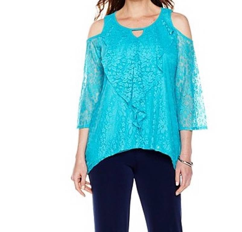 Woherren Lace tunic top Cold-Shoulder Cruise party Cocktail work night plus 2X 3X