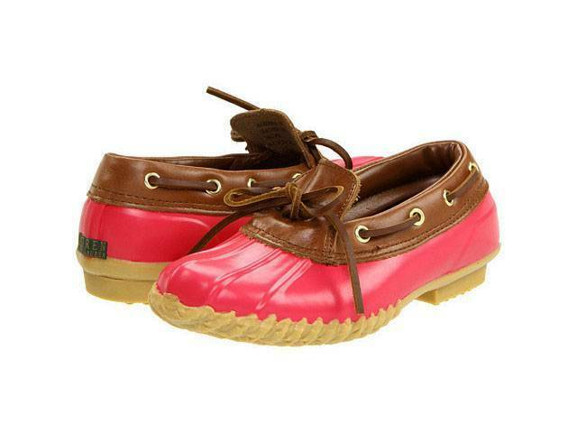 Ralph Lauren MAKENNA Pink / Braun Rubber Leder Boat Lace-Up Slip-On Schuhes NWOT