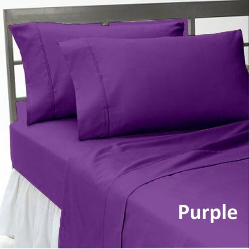 Olympic Queen Size 4 PCs Top Sheet Set Pocket Depth Egyptian Cotton Solid Colors