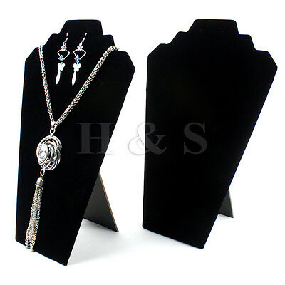 2x Multiple Velvet Necklace Earring Stand Jewellery Holder Shop Display Bust --A