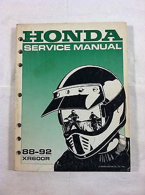 HONDA XR600R DEALER'S SERVICE MANUAL GUIDE 88-92 88 89 90 91 92