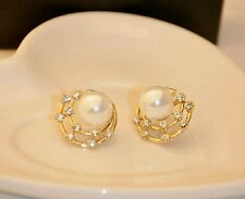 #1174 The new 2017 retro starry shell flash Rhinestones pearl earrings