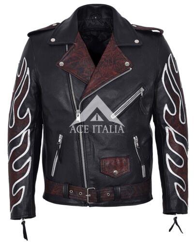 Black de vaca hombre cuero clásico Flames estilo Oxred piel Chaqueta Brando para de de motociclista d8BqdAxa