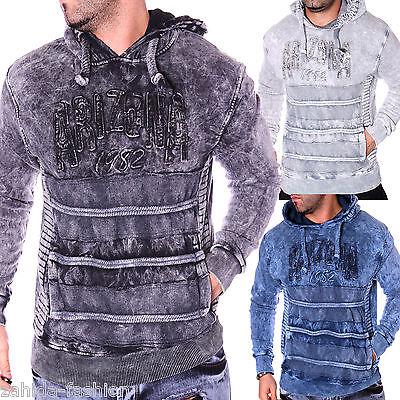Herren Pullover Pulli Longshirt Hoodie Verwaschen Washed
