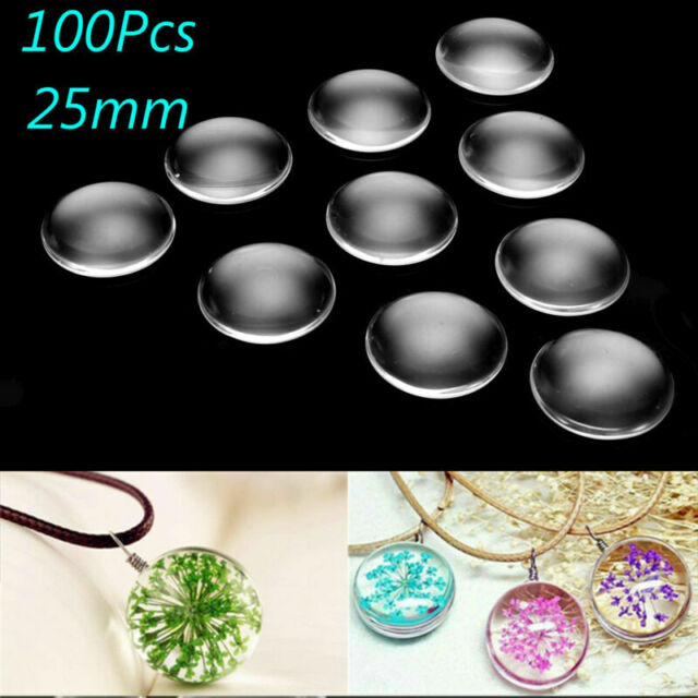 100pcs Clear Transparent Glass Heart Cabochons 1 Inch Jewelry Setting Cover 25mm