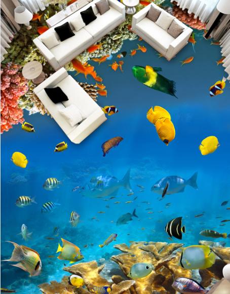 3D Tiefsee Fisch 449 Fototapeten Wandbild Fototapete Tapete Familie DE Lemon