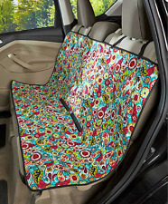 Pet Seat Cover For Cars Trucks Dog Cat Quilted Water Resistant Paisley Print Red