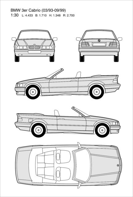 Blechschild, Tin Sign, 20 x 30 cm, BMW 3er Cabrio
