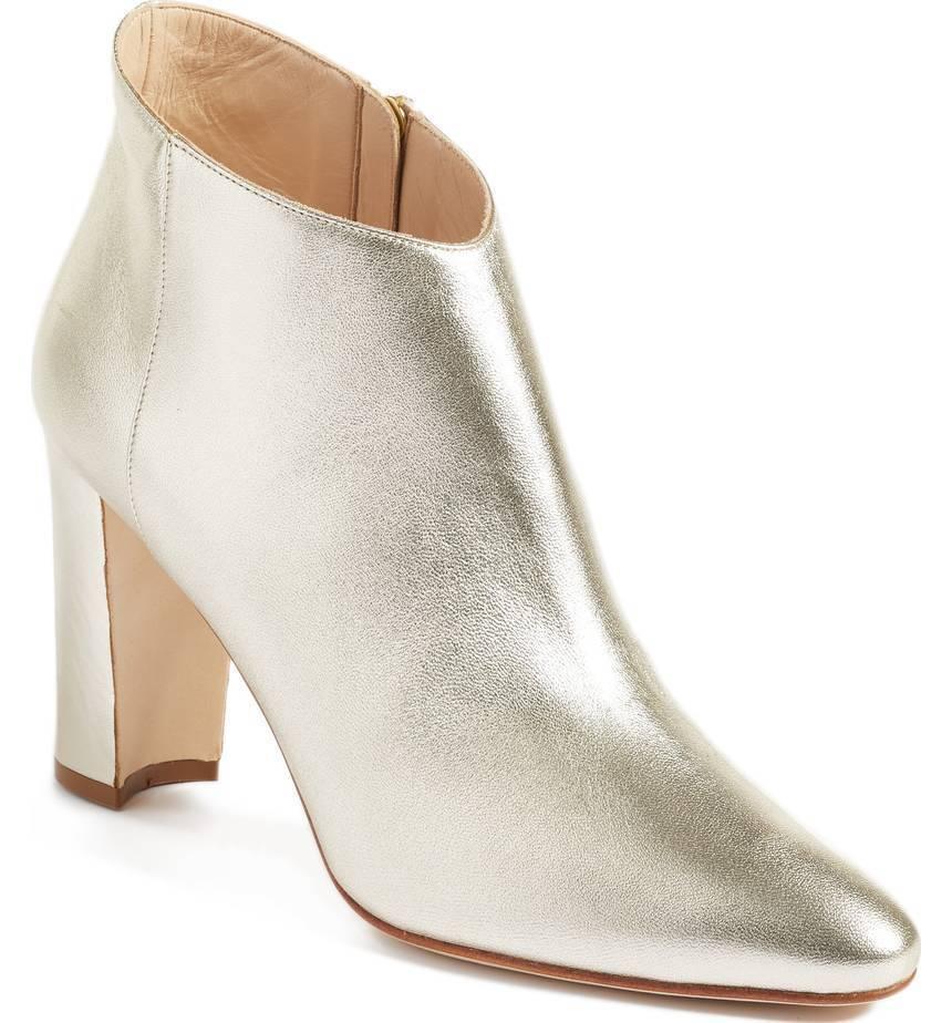 Manolo Blahnik brusta Corte Bajo Tobillo Bota Zapato de tacón de bloque de inicio 38 -7 Luz de oro