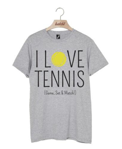 LOTTO 1 I LOVE TENNIS GAME SET MATCH WIMBLEDON TORNEO Slogan T-SHIRT UNISEX