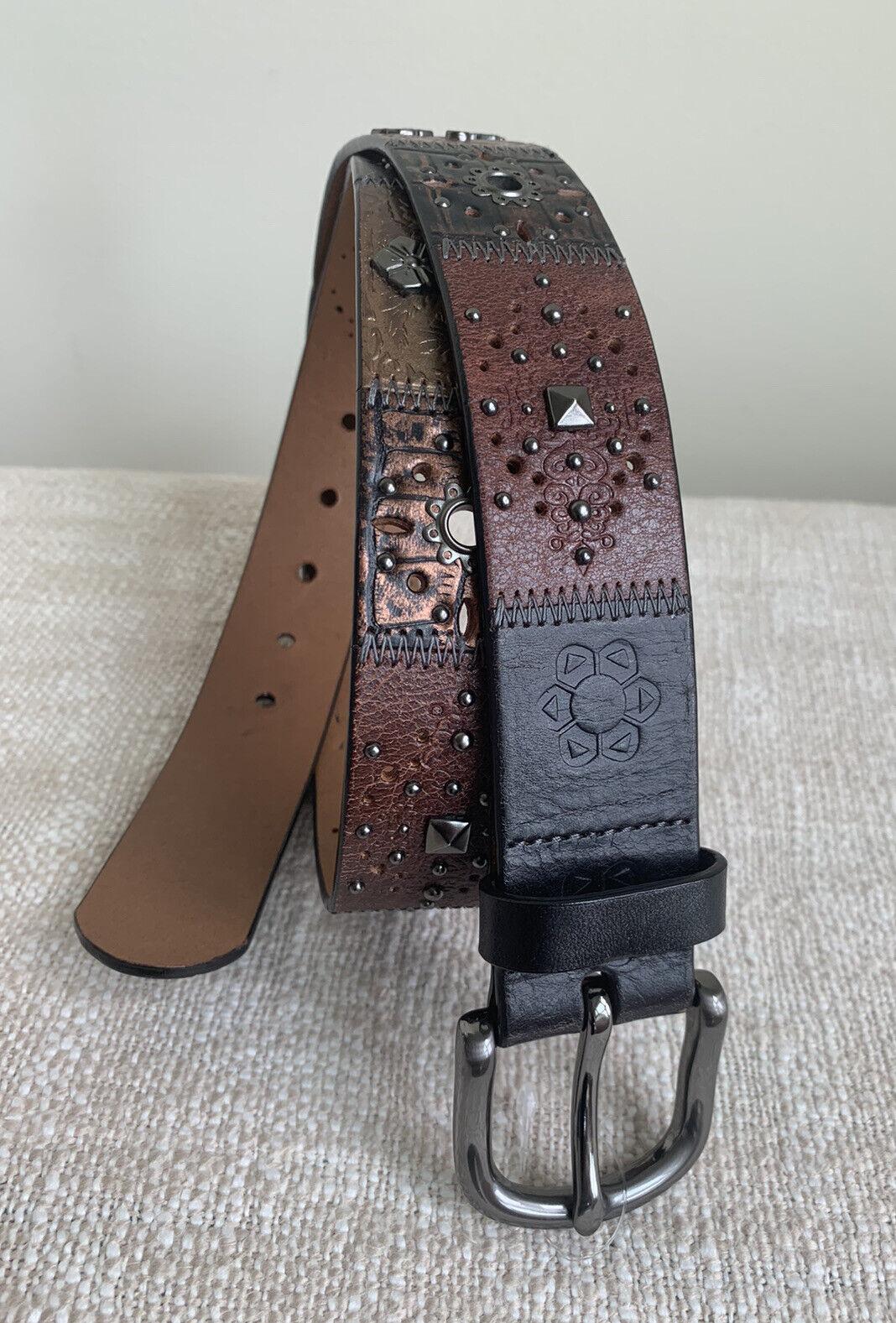 Fossil Patchwork Studded Embellished Belt Sz L Black Brown Bronze Leather Boho
