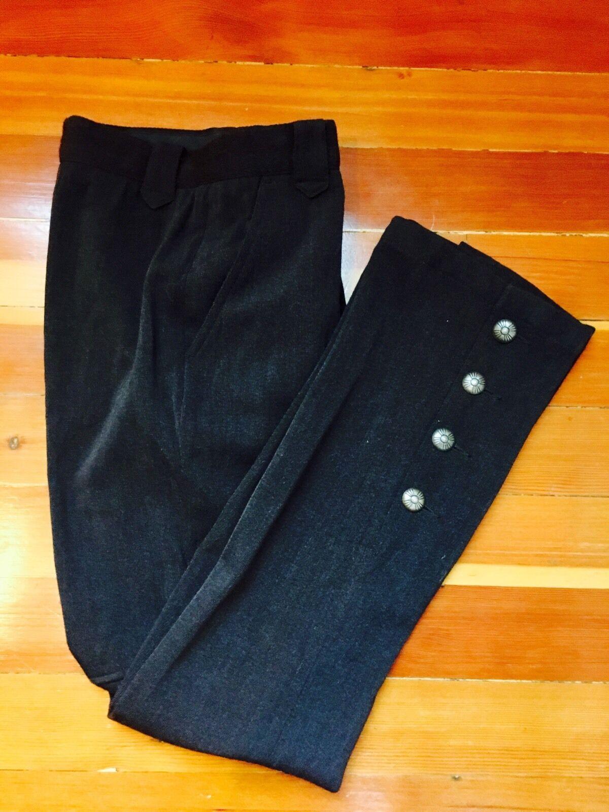 Ralph lauren sport women's brown wool flared knit pants metal buttons Sz 4 RARE