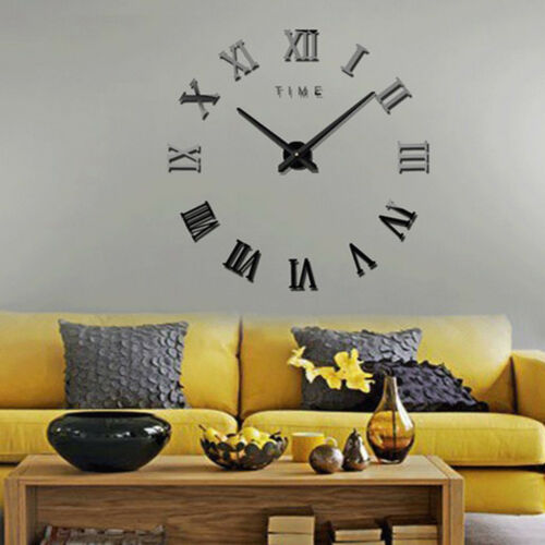 3D Frameless Wall Clock Stickers DIY Wall Decoration for Living Room Black