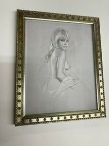 Vintage Classic Tasteful Nude Pencil Sketch Print - Framed Ready to Hang!