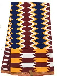 African-KENTE-Prints-African-Print-Fabric-African-Clothing-RED-BLUE-amp-WHITE