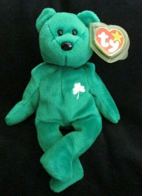 """Ty ERIN the Green Irish Bear 8.5/"""" White Beanie Baby 1998 MWMT"""