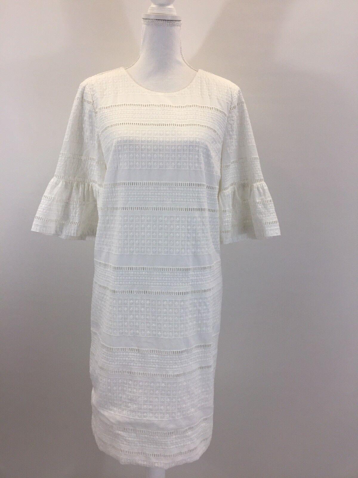 NEW J.Crew Eyelet Flutter Sleeve Cotton Shift Dress, G1269, Größe 2 Weiß,