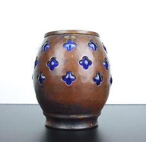 SincèRe Petit Vase Cuivre Et Verre Travail De Dinanderie 537 G, H:10,5 Cm Faire Sentir à La Facilité Et éNergique