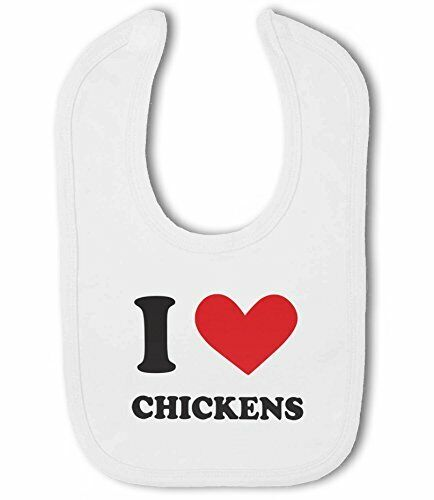 I Love Chickens heart Baby Bib by BWW Print Ltd
