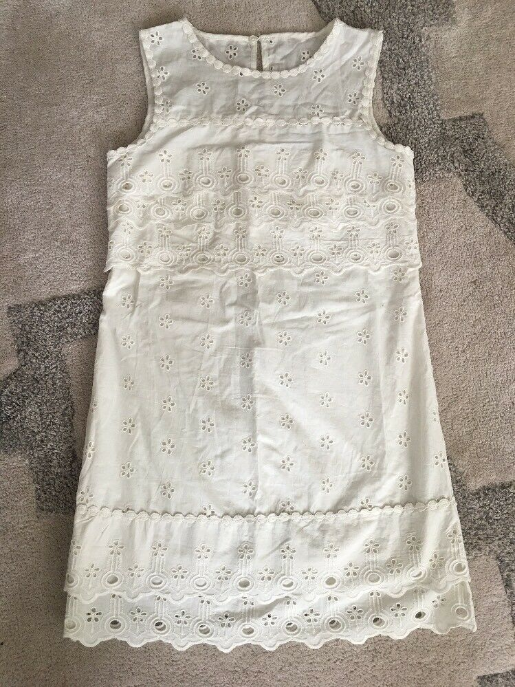 New J Crew Tiered Eyelet Dress Ivory Sz 10 G8475