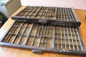 2-M-amp-W-MFG-Co-Antique-Primitive-WOODEN-PRINTING-PRESS-DRAWERS-Shadow-Boxes-trays