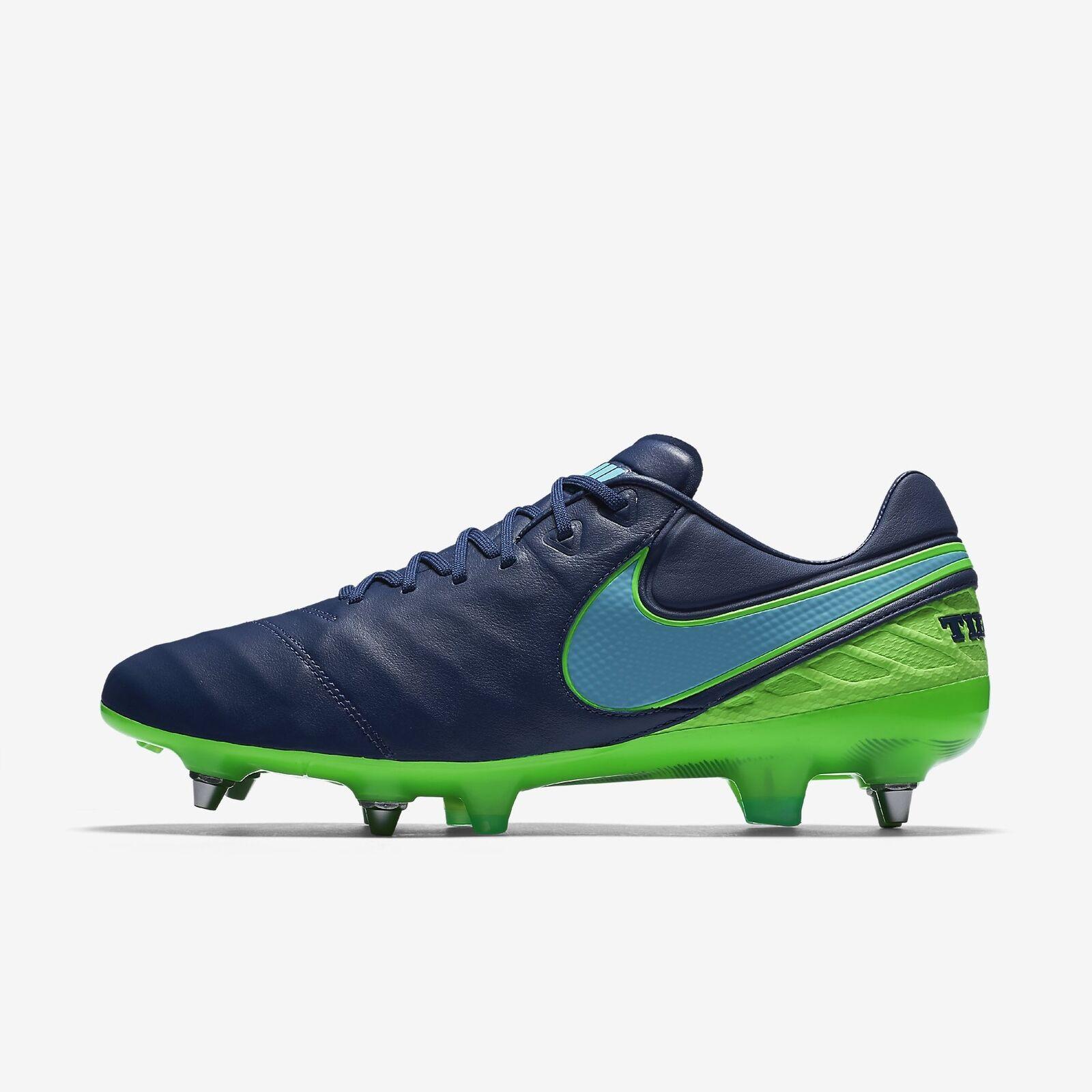 Men's Nike Tiempo Legend VI SG-PRO Soccer Cleats Blue Green Comfortable Cheap and beautiful fashion