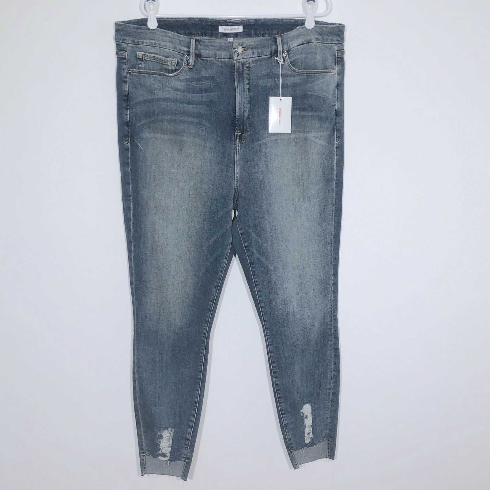 Good American Jeans 24 Good Legs Crop Skinny High Rise Distressed NEW NWT