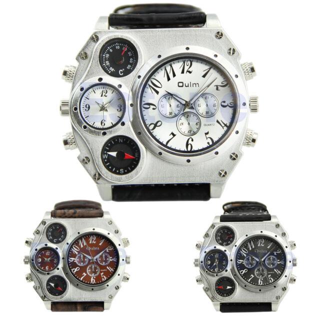 Men's Oulm Luxury Sport Military Quartz Dial Clock Stainless Steel Wrist Watch