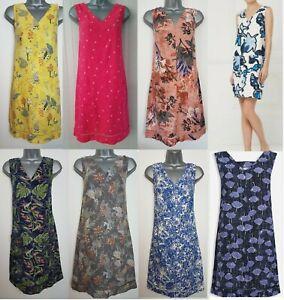Ladies-NEXT-Shift-Dress-Linen-Floral-Print-Summer-Smock-Vintage-Beach-Size