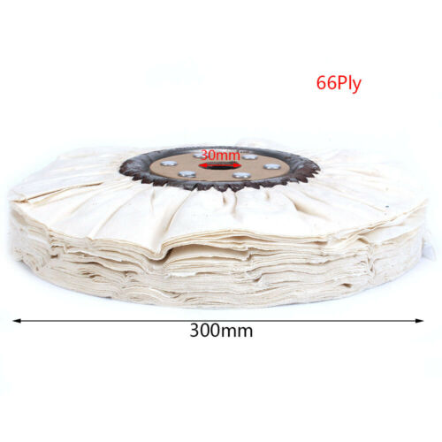 """12/""""Cotton Airway Buffing Wheel Cloth Wheel With 30mm Bore For Rotary Tool 66Ply"""