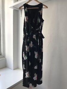 Banana-Republic-Womens-Sleeveless-Magnolia-Floral-Midi-Wrap-Dress-AU-Size-10