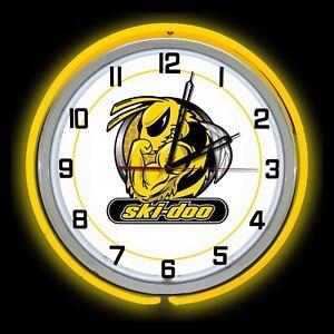 "19/"" Ski Doo Team Sign Double Neon Clock Snowmobile Off Road Racing"