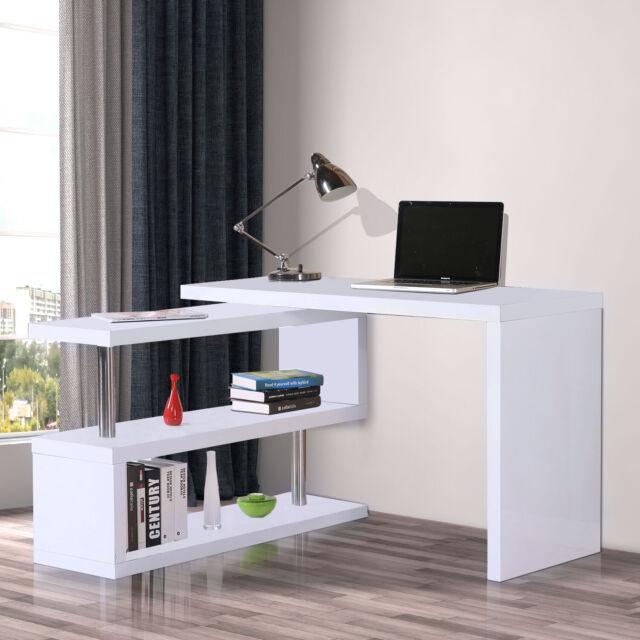 White Office Computer Desk High Gloss 2 Shelves Storage Home Study Furniture