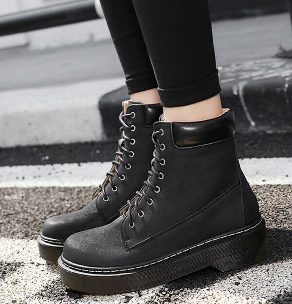 botas elegantes bajo cómodo 4 cm negro botas militares como piel CW808