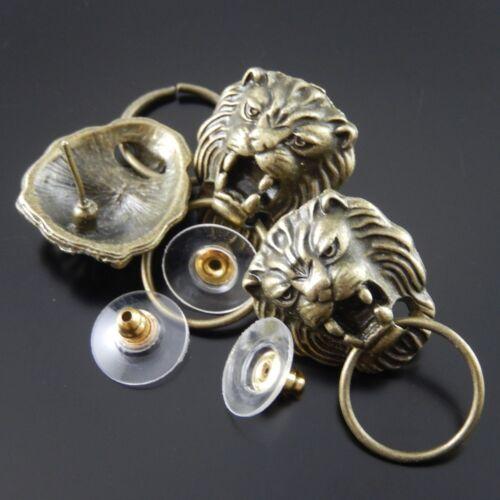 Bronze Metall Löwenkopf Charm Ohrstecker Ohrring Schmuckzubehör #34813 16 Stk