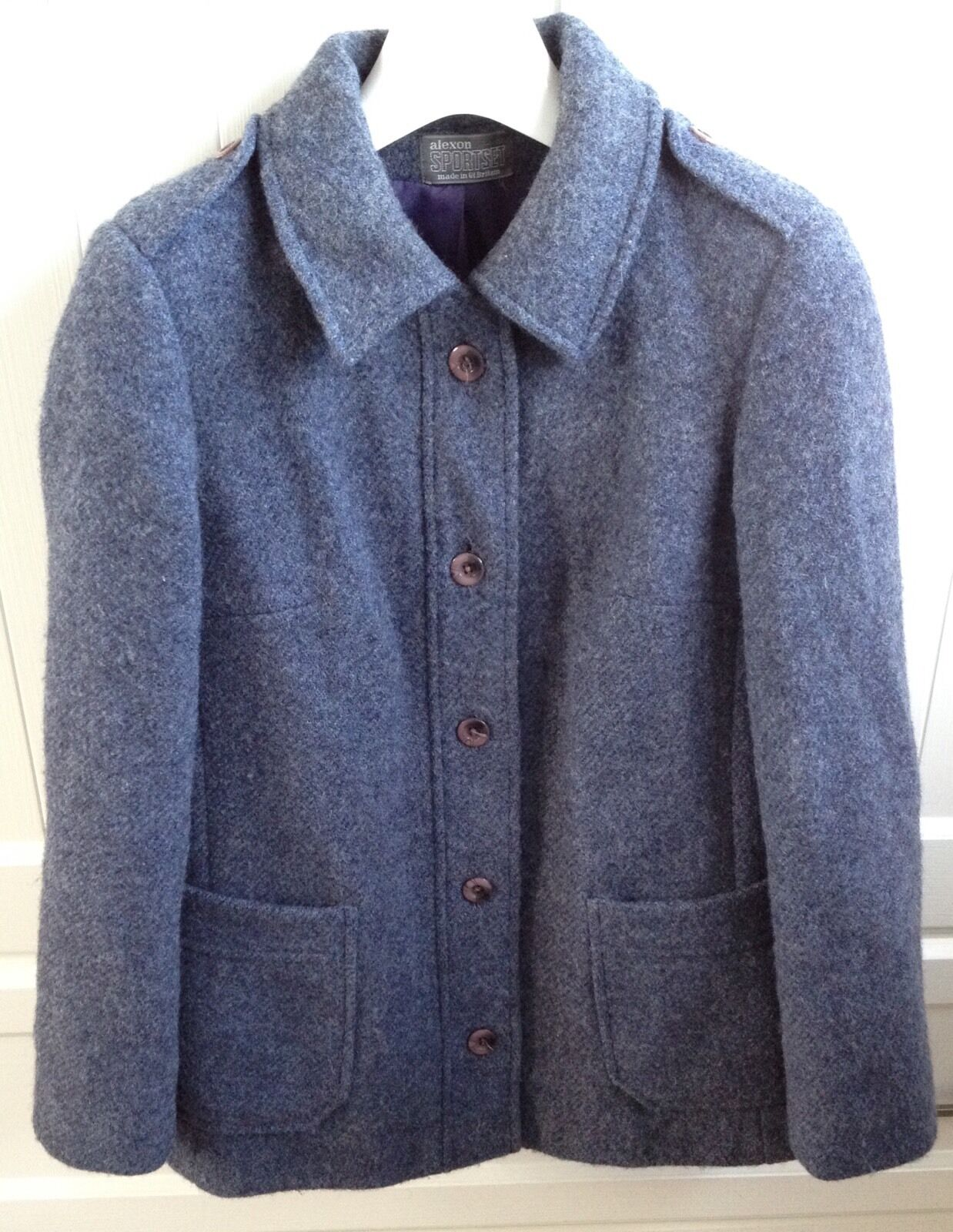 Vintage Alexon Sportset bluee Pure New Wool Blazer Blazer Blazer Long Sleeve Blouse 38  Chest 248861