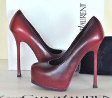 YSL RED PURPLE WINE DEGRADING TRIBTOO PLATFORM SHOES LEATHER PUMP 35.5 5.5 NEW